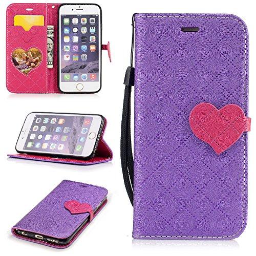 Para Apple iPhone 6/6S(4.7 Zoll) funda, (Amor púrpura) El amor golpeó el color de cuero de la PU Leather cubierta ,Función de Soporte Billetera con Tapa para Tarjetas correa de mano soporte para teléfono