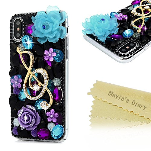 iPhone X Fall, Mavis 's Diary klar Slim Fit Luxus 3D Handmade Bling Kristall Strass Diamanten Fashion Design Full Body Schutzhülle Hard PC Kunststoff Cover für iPhone X, Lotus