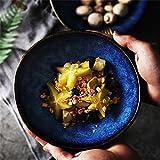 Grande salade de fruits Pâtes Bol Soupe Ramen Nouilles Bol à céréales Mélange Bol de service Vaisselle en céramique Creative Four Four à micro-ondes Safe Cat's Eye Bleu (Taille : 9.2 inches)