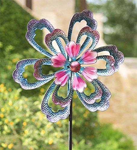 Wind und Wetter Oversized blau Blume Metall Wind Spinner, 31Dia X 9D x 99H