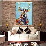 TTKX@ Messer Große Bunte Lange Gehörnte Deer Malerei Wohnkultur Wandkunst Bilder Handgemaltes Abstraktes Cartoon Ölgemälde auf Leinwand, 70X110 cm