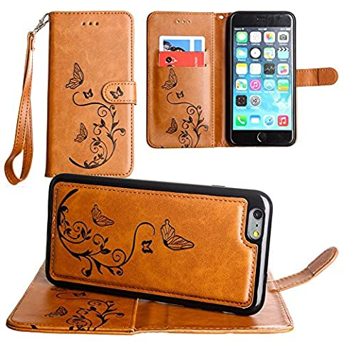 CellularOutfitter iPhone 6 Plus/6s Plus Leather Wallet Case Butterfly Embossed - Includes Detachable Matching Case and Wristlet - Brown