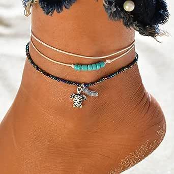 Handcess - Cavigliere a forma di tartaruga a strati per caviglie, con perline, per donne e ragazze