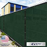 4' X 171' : Windscreen4Less Heavy Duty Privacy Screen Fence in Color Solid Green 4' X 171' Brass Grommets W/3-Year Warranty 150 GSM (Customized Size)