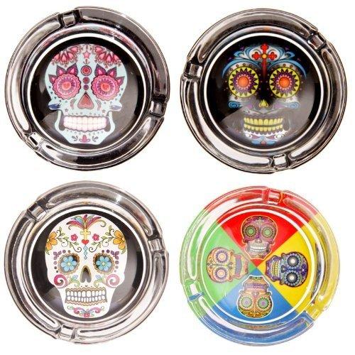 Spaß Multifarben Tag der Toten Candy Totenkopf Aschenbecher vier Designs erhältlich PDS - Schwarz Totenkopf (Spa-tote)