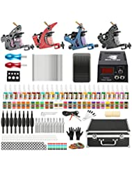Solong Tattoo Kit de Tatouage Complète 4 Machine à Tatouer Professionnelle 54 Encres Power Supply Aiguille de Tatouage Tattoo Kit Set TK456