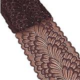5Meter Pfau Spitzenband mit Pailletten Stretch Floral Tüll Spitzenbesatz Elastic Gurtband Stoff Breite 18cm für selbstgemachten Schmuck Craft Geschenkverpackungen Hochzeit Party Decor 18cm x 5yards schokoladenbraun