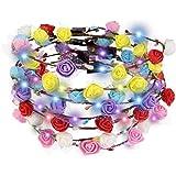BUZIFU 7 Stück LED Blumen Kranz Stirnband Kranz Kopfschmuck mit 3 Beleuchtungsmodi für Festival, Hochzeit, Braut, Kind, Nachtparty Durchmesser 17cm (Bunt)