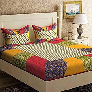 UNIBLISS Cotton Comfort Rajasthani Jaipuri Traditional King Size 1 Double Bedsheet with 2 Pillow Covers - Multi