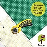 OfficeTree® Set Schneidematte - 90x60 cm (A1) grün + Rollschneider + Lineal 60x16 cm - Premium-Qualität - für professionelle Schnittarbeiten -