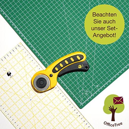 OfficeTree® Set Schneidematte - 90x60 cm (A1) grün + Rollschneider + Lineal 60x16 cm - Premium-Qualität - für professionelle Schnittarbeiten - (Lineal, Cutter)