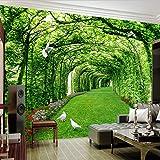 Benutzerdefinierte Fototapeten Für Wände 3D Grün Wald Baum Rasen 3D Stereo Raum Hintergrund Tapeten Wohnkultur Wandbild Dekoration (W)300X(H)210Cm