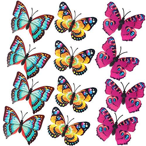 com-four® Ensemble de 12 Papillons décoratifs avec Pince à Attacher de différentes Couleurs [la sélection du Motif varie] (12 pièces - Petites)