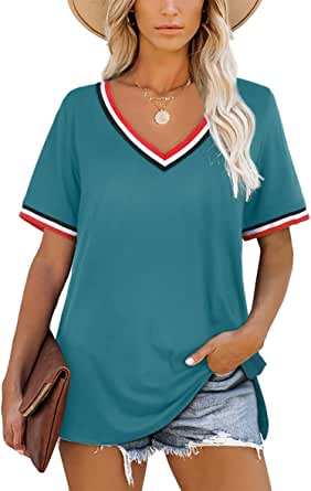 Aokosor T Shirts for Women V Neck Striped Sleeve Summer Tops Casual Loose Tee