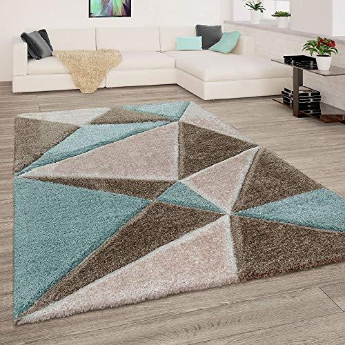 Paco home tappeto shaggy a pelo lungo in fantasia verde e marrone per il soggiorno con motivo 3d astratto soffice e morbido, dimensione:120x160 cm