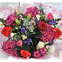 Homeland Florists Large Mixed Fresh Flower Bouquet Delivered with a Single Luxury Naomi Velvet Rose at its Heart, Red