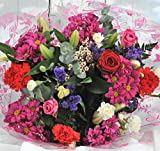 Homeland Florists Superb Mixed Fresh Flower Bouquet Delivered with a Single Large Naomi Velvet Rose at its Heart, Red, S