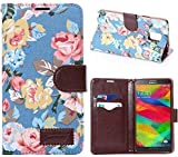 Samsung Galaxy Note 4-Vintage blue flower Magnetic Flip TPU Denim Leather Wallet Flip Card Slot Stand Cover Case With Screen Protector for Samsung Galaxy Note 4