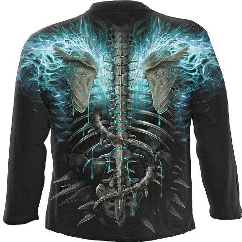 Spiral Flaming Spine Langarm Shirt, schwarz Gothic / Rocker / Biker - Schwarz, L