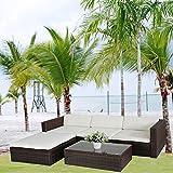 Clic 123 6034 - Set di mobili in rattan sintetico (divano e tavolino), arredamento giardino, colore: marrone