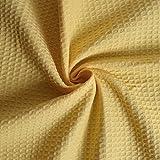 Tissu éponge nid d'abeille jaune (au mètre)