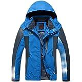 H&E Men's Outwear Mountain Windproof Hiking Hooded Waterproof Parka Jacket Coat