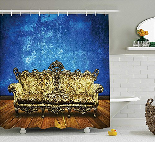 JIEKEIO Victorian Shower Curtain, Victorian Sofa in Room Interior Wooden Floor Timber Panel Curve Aged, Fabric Bathroom Decor Set with Hooks, 60 * 72inchs Long, Brown Yellow Royal Blue -