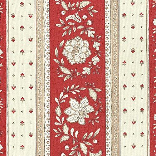 Stoff Meterware Baumwolle - Provençal Streifen Blumenstoff (Renaissance Rot & Karamellcreme) | 100% Baumwolle Stoff | Stoffbreite: 160 cm (pro Laufmeter)* (Renaissance-streifen)