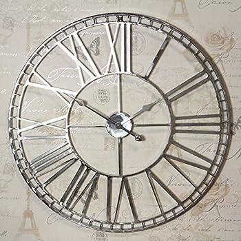 Metal Skeleton Clock In Antique White Amazon Co Uk