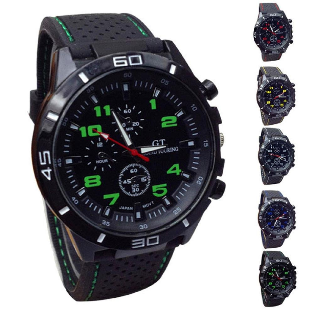 LuckUK Men's Sport Watches,Man Boy Sport Quartz Watch Military Watches Men Silicone Band Hours Wristwatch