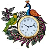 JaipurCrafts Designer Kundan Studded And Meenakari Stylish Beautiful Wooden Peacock Emboss Painting Wall Clock| Clock For Home | Wall Clock For Kitchen | Rajasthani Wall Clock
