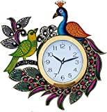 #4: JaipurCrafts Designer Kundan Studded And Meenakari Stylish Beautiful Wooden Peacock Emboss Painting Wall Clock| Clock For Home | Wall Clock For Kitchen | Rajasthani Wall Clock