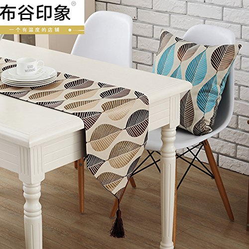 YM@YG Tessuto marrone tradizionale tabella corridore tabella bandiera bandiera decorativa Tavolino Tavolino set tessuto tessuto telo di copertura TV,32 * 160cm - Tessuto Nappa Set