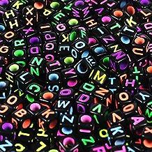 """Goodlucky365 500 Piezas Abalorios Letras Cuentas de Plástico Acrílico Abalorios Negros Mezclado Perlas de Alfabeto """"A-Z"""" Cuentas de Cubo Tamaño 6x6mm o 1/4 """"Para Pulseras, Collares, Llaveros y Joyería de Niños"""