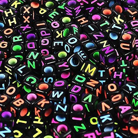 Goodlucky365 500 Piezas Abalorios de Letras Cuentas de Plástico Acrílico Abalorios Negros Perlas de Alfabeto Para Joyería Cuentas de Cubo