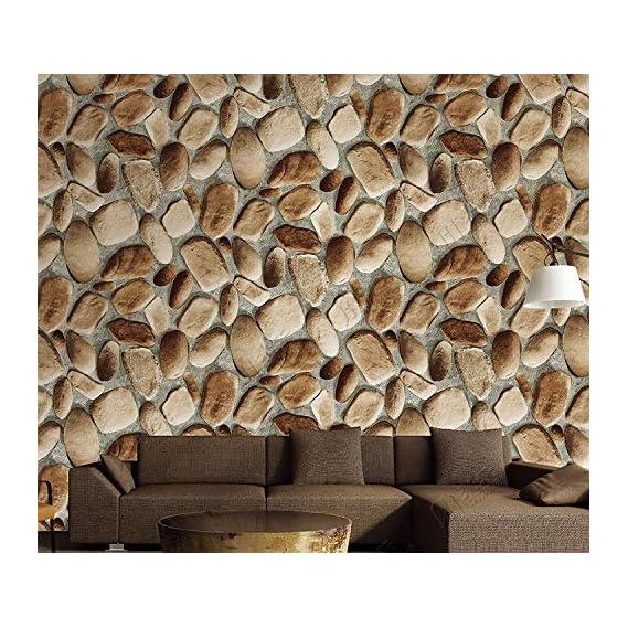 EUROTEX Stone Bricks Pattern Waterproof 3D Vintage Faux Panel Wallpaper (Brown, Grey, 53cm x 1000m)