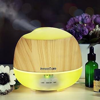 500ML Diffuseur d'Huiles Essentielles InnooCare Diffuseur d'Arômes Humidificateur Ultrasonique Lampes à Parfum avec la Certification CE [Classe énergétique A+++] 7 couleurs LED lampes (Blanc)
