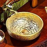 AOSHE Waschbecken Des Badezimmers Ovales Waschbecken Europäisches Helles Luxuxvergoldetes Kunsttisch 1350 Grad-Hochtemperaturbrennendes Keramisches Bassin 40 * 14.5Cm