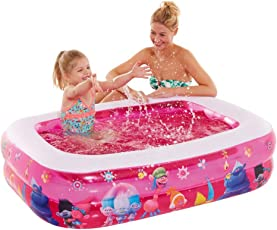 Vida GmbH Kinderplanschbecken rosa Trolls Kinderpool Baby Badewanne eckig aufblasbarem Boden Balkon Bällebad R