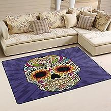 coosun color mexicano calavera área alfombra alfombra alfombra de suelo antideslizante Doormats para salón o dormitorio