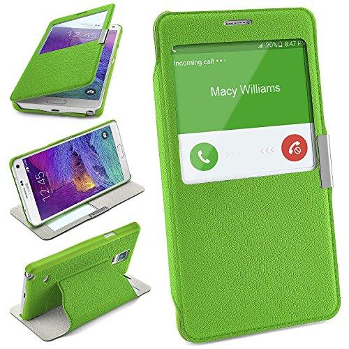 moex Samsung Galaxy Note 4 | Hülle Grün mit Sicht-Fenster Window Cover Schutzhülle Ultra-Slim Handyhülle für Samsung Galaxy Note 4 Case Flip Handy-Tasche Stand-Funktion