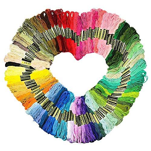 TFENG 100 teilig Stickgarn 8m 6/faedig Multicolor farblich bunt Baumwolle Basteln Kreuzstich Set (Baumwolle-thread 100%)
