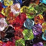 100x 8mm Mix Acryl facettiert, Doppelkegel, Craft Schmuck–(Basteln, Schmuckherstellung Perlen–Fashion Charms–Jewelry Accessories–Schmuckteile 2S)