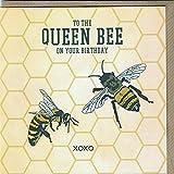 To the Queen Bee on your birthday XOXO–Quirky Bee Geburtstagskarte Hand Drawn