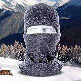 LUCKSTAR Masque de moto - Masque visage pour ski, moto, vélo, bandana, randonnée, skateboard, cagoule, masque intégral, chapeau, doublure pour casque, gris