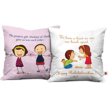 Indibni Sibling Love Brother Sister Cushion Cover 12X12 with Filler White Combo Gift for Bro Sis Bhai Behan Bond