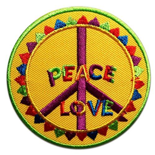 Amarillo amor de la paz del Hippie Símbolo Patch '7.5 x 7.5 cm' - Parche Parches Termoadhesivos Parche Bordado Parches Bordados Parches Para La Ropa Parches La Ropa Termoadhesivo Apliques Iron on Patch Iron-On Apliques