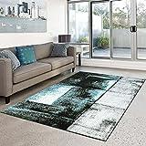 Teppich Moda Flachflor Modernes Abstraktes Design türkis Grau Wohnzimmer Neu, Größe in cm:120 x 160 cm;Farbe:Türkis
