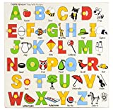 #10: Skillofun Wooden Capital Alphabet Tray with Picture with Knobs, Multi Color