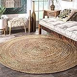 Tappeto rotondo in juta - (D-182 cm) - Tappeto decorativo interno - Tappeto in juta naturale - Tappeto ecologico e reversibile in tessuto intrecciato a mano 100% organico per soggiorno e cucina